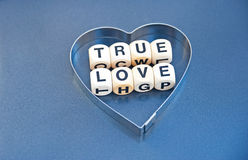True love. Text ' True love ' in black upper case letters inscribed on small white cubes placed inside, silver heart  on a gray background Royalty Free Stock Image