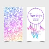 True Love. Yoga studio card design. Colorful template for spirit. Ual retreat or pilates studio. Ornamental banners, oriental pattern over white background Stock Photos