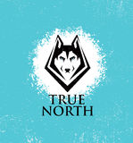 True North Active Lifestyle Outdoor Club. Husky Dog Face Illustration Strong Sign Concept On Rough Background. Stock Photo