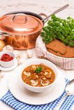 True North German mock turtle soup with mushrooms Royalty Free Stock Photo