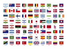 True proportions flags of world sovereign states on white Stock Photo