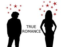 True Romance. Illustration of an attractive woman flirting with a man Royalty Free Stock Photos
