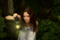In true search. The girl with a lantern restlessly looks on a background of a twilight wood Stock Photos