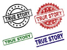 Scratched Textured TRUE STORY Seal Stamps. TRUE STORY seal prints with damaged surface. Black, green,red,blue vector rubber prints of TRUE STORY caption with royalty free illustration
