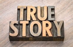 True story word abstract in wood type Stock Images