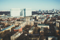 True tilt shift shooting of residential district Stock Photography