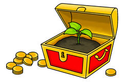 The True Treasure. An illustration of a plant inside a treasure chest. A conceptual illustration about nature is the true treasure of the world and we must take Stock Images