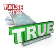 True Vs False Truth Against Lies Balance See-Saw Stock Photos
