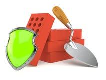Truelle et briques avec le bouclier protecteur illustration stock