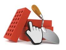 Truelle et briques avec le curseur de Web illustration libre de droits