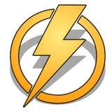 Trueno amarillo en círculo con la sombra aislada en el fondo blanco Ejemplo del primer de la historieta del vector libre illustration