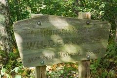 Trueno Ridge Wilderness Sign en rastro apalache Imagen de archivo