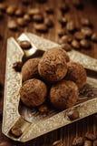 Trufas de chocolate caseiros com pó de cacau Imagem de Stock