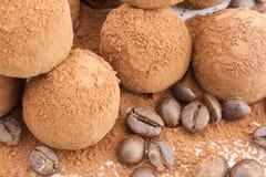 Trufas de chocolate com feijões de café Imagens de Stock