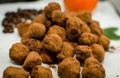 Trufas de chocolate con las frutas escarchadas anaranjadas fotografía de archivo libre de regalías