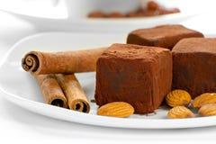 Trufas de chocolate em uma placa Fotos de Stock