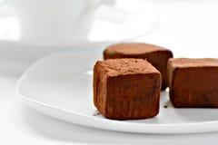 Trufas de chocolate em uma placa Fotografia de Stock