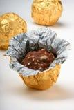 Trufas de chocolate en abrigo de la hoja Imagen de archivo