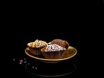 Trufas de chocolate feitos à mão, doces, confeitos Havia fotos de stock royalty free