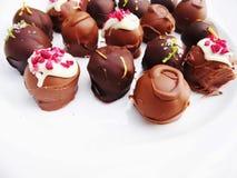Trufas de chocolate hechas a mano clasificadas imagen de archivo