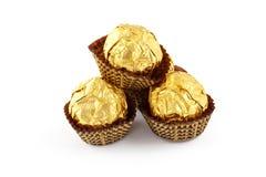 Trufas de chocolate isoladas Fotografia de Stock