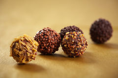 Trufas de chocolate macro Imagem de Stock Royalty Free