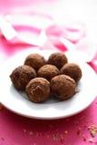 Trufas de chocolate na placa Fotografia de Stock