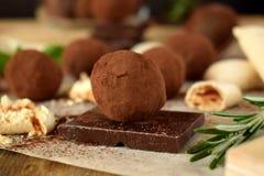 Trufas de chocolate polvilhadas com o pó de cacau fotografia de stock