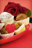 Trufas de la tarjeta del día de San Valentín Foto de archivo