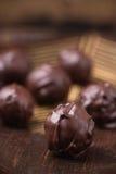 Trufas del primer en chocolate Imagen de archivo