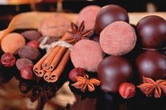 Trufas e chocolates de chocolate com especiarias Foto de Stock Royalty Free