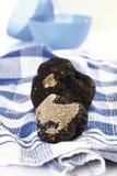 Trufas negras en el paño a cuadros del plato Imagen de archivo