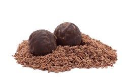 Trufels del cioccolato isolati su bianco Fotografia Stock