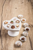 Truffe de chocolat sur le bois, l'espace des textes Images libres de droits