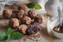 Truffels del chocolate con la hierbabuena Fotos de archivo