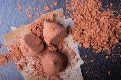 Truffes de chocolat avec la poudre de cacao photos stock