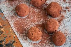 Truffes de chocolat foncées couvertes de poudre de cacao Images libres de droits