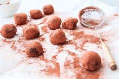 Truffes de chocolat foncées couvertes de poudre de cacao Photographie stock