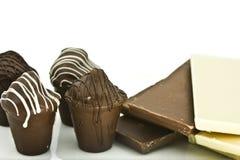 Truffes et bars de chocolat Photographie stock libre de droits