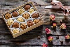 Truffes et roses de chocolat Photographie stock