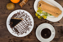 Truffle cake with coffee for breakfast. wood background. Top view. Close-up Royalty Free Stock Images