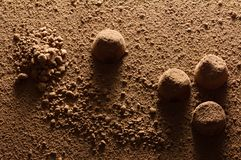 Truffle candies and cocoa powder close-up in hard backlight, similar to the surface of Mars. Background image for Valentine`s Day or for a box of chocolates royalty free stock image