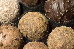Truffle candy closeup. Close-up of a set of assorted truffles Royalty Free Stock Image