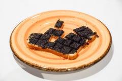 Truffle cream on croutons .Black Truffles Tuber Aestivum Vitt . Black Truffles Tuber Aestivum Vitt stock photos