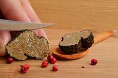 Truffle cutting Stock Photo