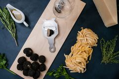 Truffle delicacy cooking restaurant pasta concept. Truffle delicacy cooking vegan restaurant food mushroom pasta concept. Culinary delights Stock Photo