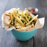 Truffle fries in bowl. Royalty Free Stock Photos