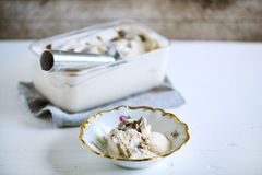 Truffle ice cream scooped in a rustic bowl, delicacy. Of homemade churned dessert Stock Image