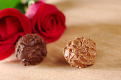 Truffle with Red Roses Stock Images