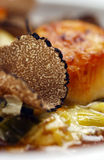 Truffle slice on meal close up Stock Photo
